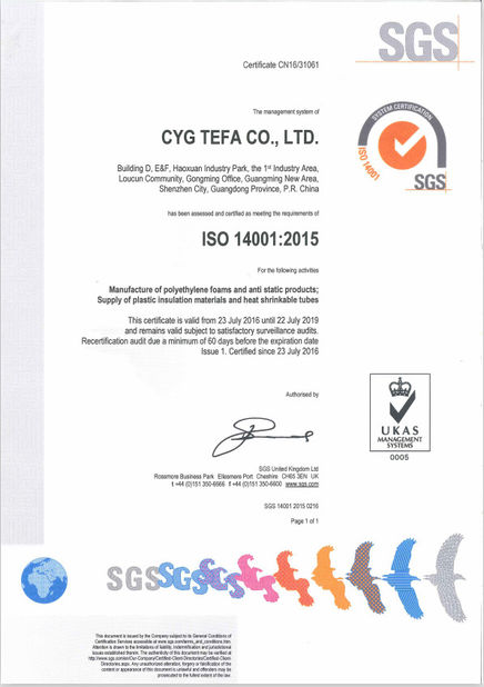 China Cyg Tefa Co., Ltd. Certificaciones